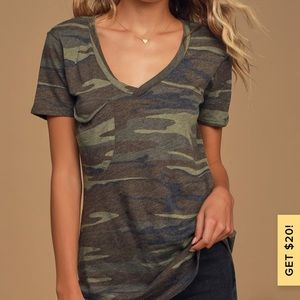 Z supply At Attention Green Camo Print Tee